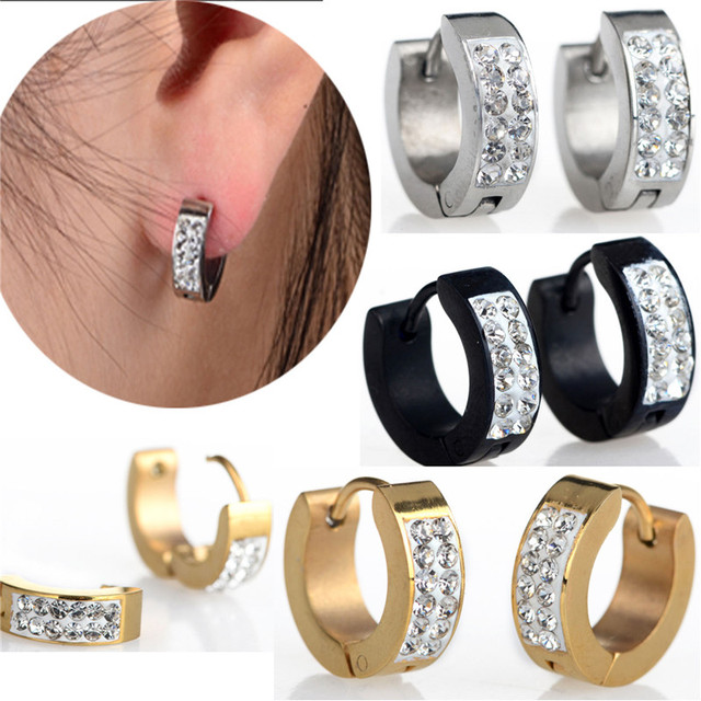 1pair Punk Stainless Steel Crystal Earrings Hoop Huggie Ear New Mens Women