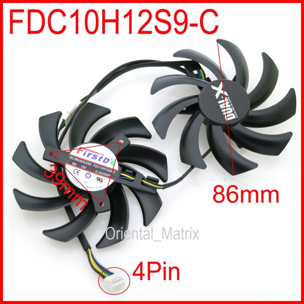 2pcs/lot FDC10H12S9-C 86mm 39*39*39mm For Sapphire R9 VAPOR-X 270X 280X HD7870 HD7950 HD7970 Graphics Card Cooling Fan