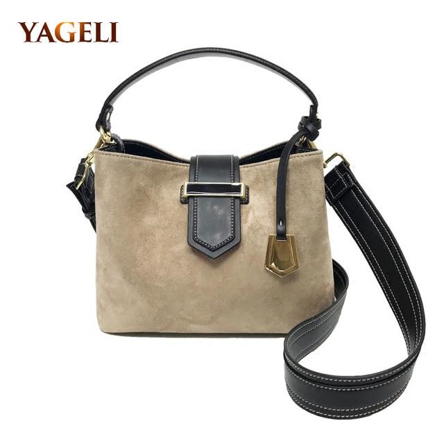 243fbfc90e1d5 YAGELI MARKI zamszowe torby z szeroki pasek na ramię kobiety mody torebki  damskie brand design panie