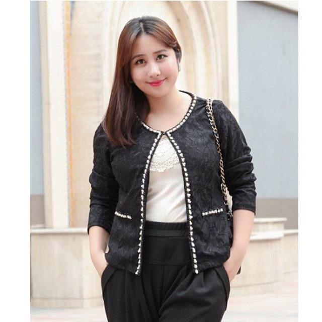 Aliexpresscom  Buy Chubby Girl Black Lace Cute Autumn Jackets Women Plus Size 3Xl -6326