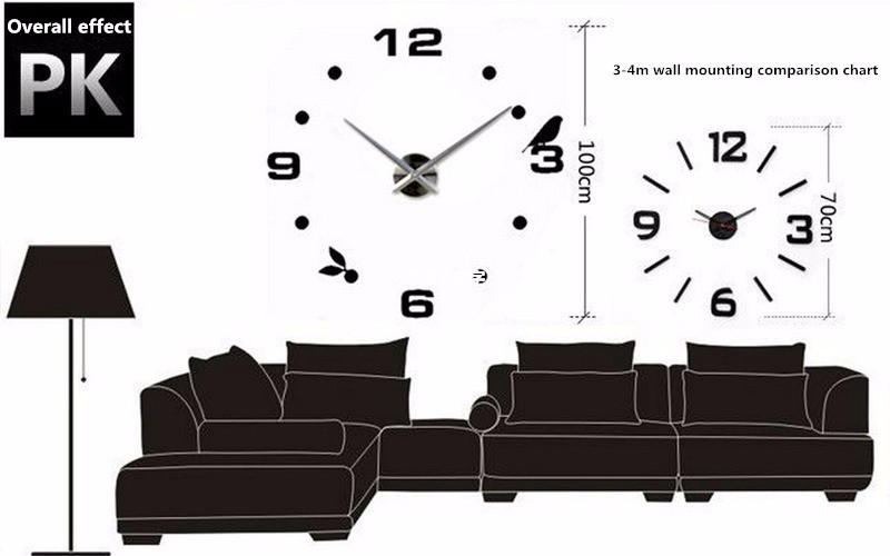 16 new arrival Quartz clocks fashion watches 3d real big wall clock rushed mirror sticker diy living room decor free shipping 12