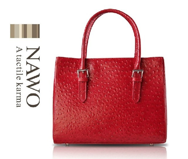 Nawo classic ostrich grain genuine leather women's handbag ladies first layer of cowhide handbag constellation