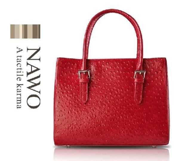 Nawo classic ostrich grain genuine leather women's handbag ladies first layer of cowhide handbag constellation