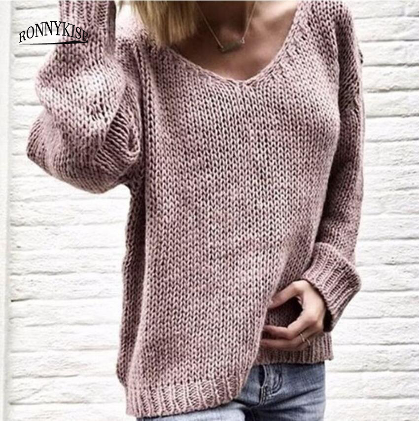 RONNYKISE Knitted Sweaters Women Fashion Pullovers Long Sleeve Sexy V-neck Casual Tops Autumn And Winter  Cashmere Sweater