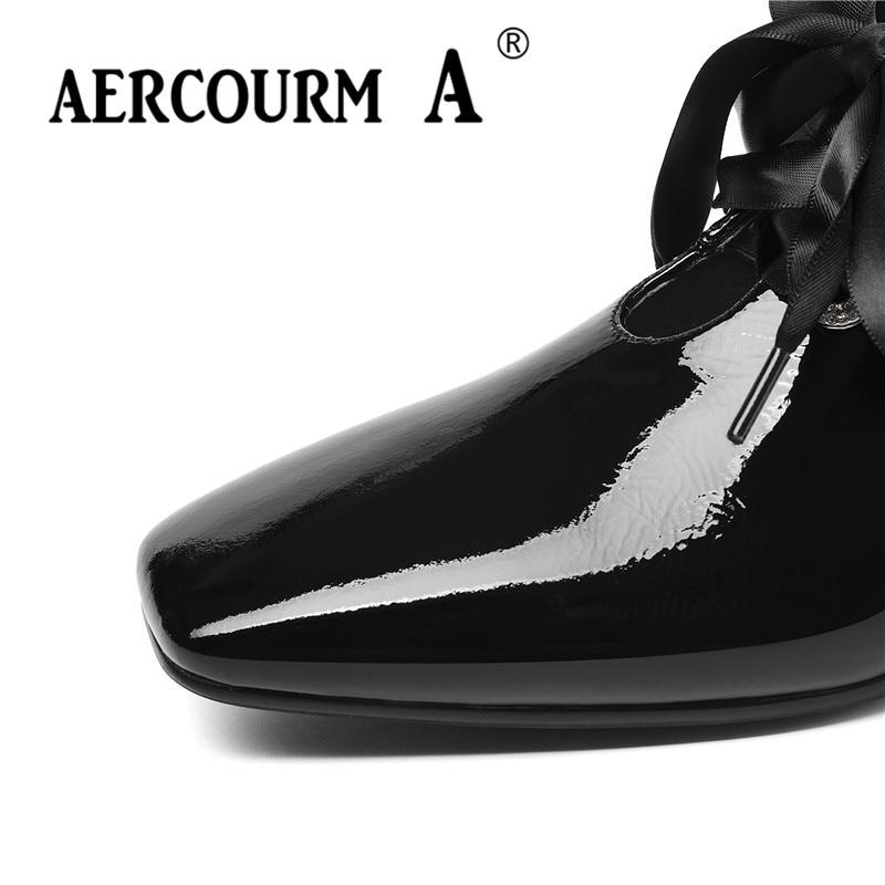 Bombas marca lavanda 2019 Cuero Encaje Patente Zapatos Aercourm Color Un Niñas Punta Cuadrados Cuadrada Bajo Mujeres De Primavera vino Tres Las Tinto Negro Tacón STqwfY1wz