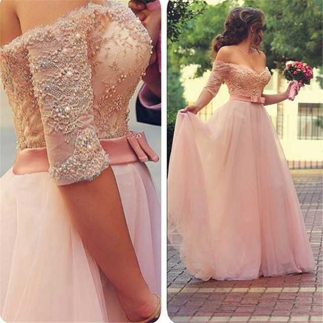 bb8e2b7f4 Off the Shoulder Sweetheart Half Sleeve Beaded/Pearls Pink lace 2018 Custom  made Tulle Party prom Gown bridesmaid dresses
