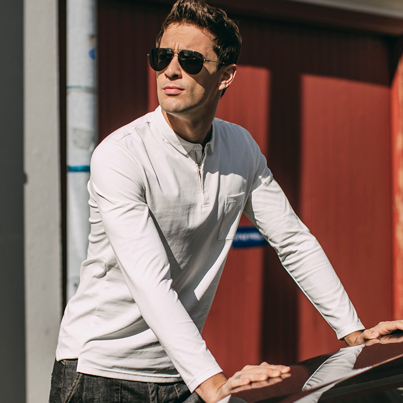 Autumn Men Poloshirts Cotton Zipper Black White Color For Man Casual Long Sleeve Slim Fit Clothing 2018 New Male Wear Tops 1019