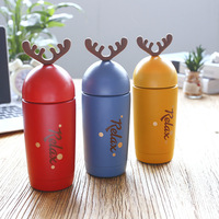 JOUDOO 300ml Cute Cartoon Christmas Deer Thermos Kids Stainless Steel Vacuum Flask Insulated Tumbler Coffee Mug