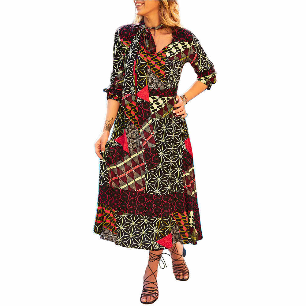 b7faf9b5c6f 2018 Women s Casual Autumn Geometric Printed V-Neck Drese Long Sleeve  O-Neck Sundress