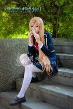 Envío gratis espada arte ALfheim Online Online Asuna Yuuki Anime conjunto traje azul Cosplay para el partido vestido para mujeres / hombres