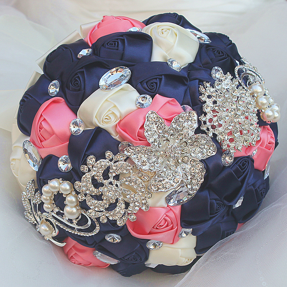 The Newest Navy Pink And Cream Artificial Wedding Bridesmaid Bouquet