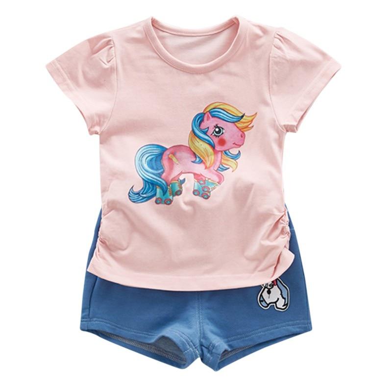 2pcs toddler baby girls clothing sets Color horse top girls summer clothes set kids sport suit tracksuit sweatshirt