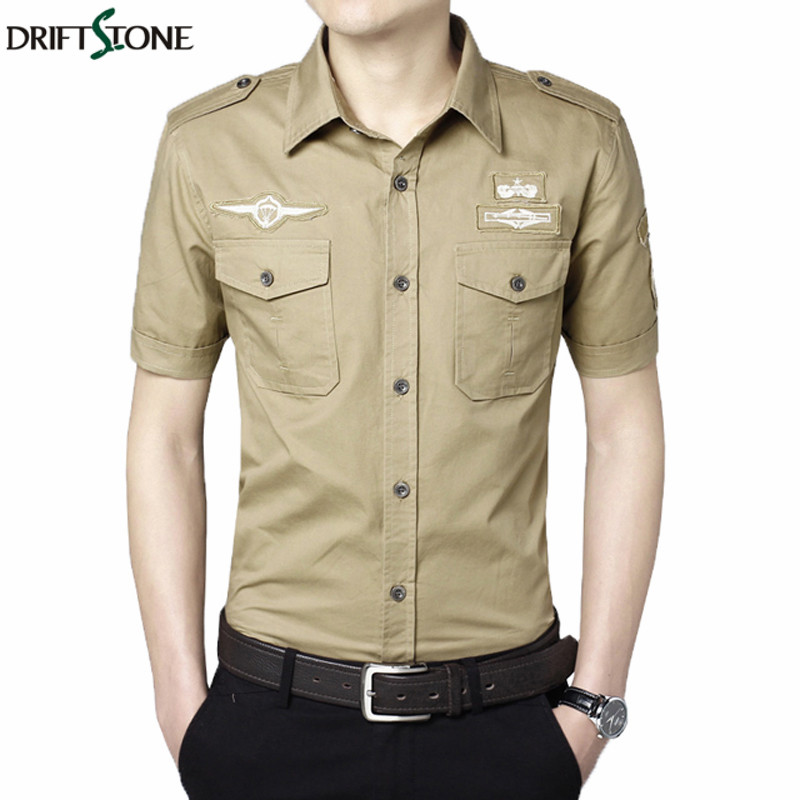 2018 Summer Military Style Shirts Mens Casual Cotton Cargo Shirt M-5XL Short Sleeve Men Army Shirt Tactical Clothes