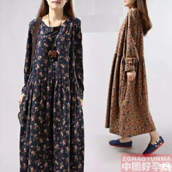 2016 new maternity autumn fashion long-sleeved cotton flower render pregnant women dress skirt