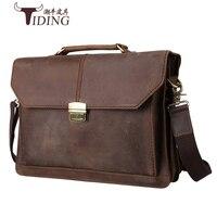 Crazy Horse кожа Для мужчин портфель для ноутбука сумки 14 Для мужчин Винтаж Пояса из натуральной кожи коричневый Сумки бренд Для мужчин плеча