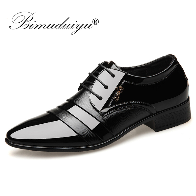 BIMUDUIYU Fashion Men Dress Flat Shoes Business Oxfords Shoes Pointed Toe Wedding Shoes Leather British Lace-up Footwear