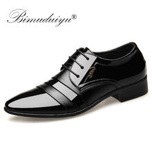 BIMUDUIYU Fashion Men Dress Flat Shoes Business Oxfords Pointed Toe Wedding Leather British Lace-up Footwear