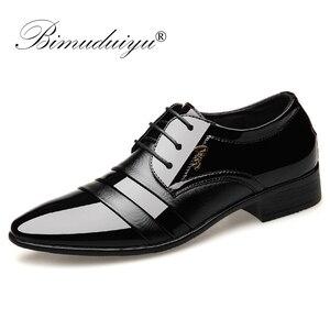 Image 1 - BIMUDUIYU Fashion Men Dress Flat Shoes Business Oxfords Shoes Pointed Toe Wedding Shoes Leather British Lace up Footwear