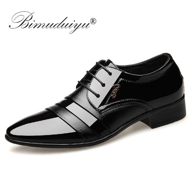 BIMUDUIYU Fashion Men Dress Flat Shoes Business Oxfords Shoes Pointed Toe Wedding Shoes Leather British Lace up Footwear