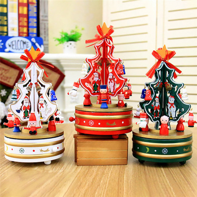 dream christmas wooden carousel clockwork music box eight box christmas tree wholesale free shipping 30ri6 - Christmas Tree Wholesale