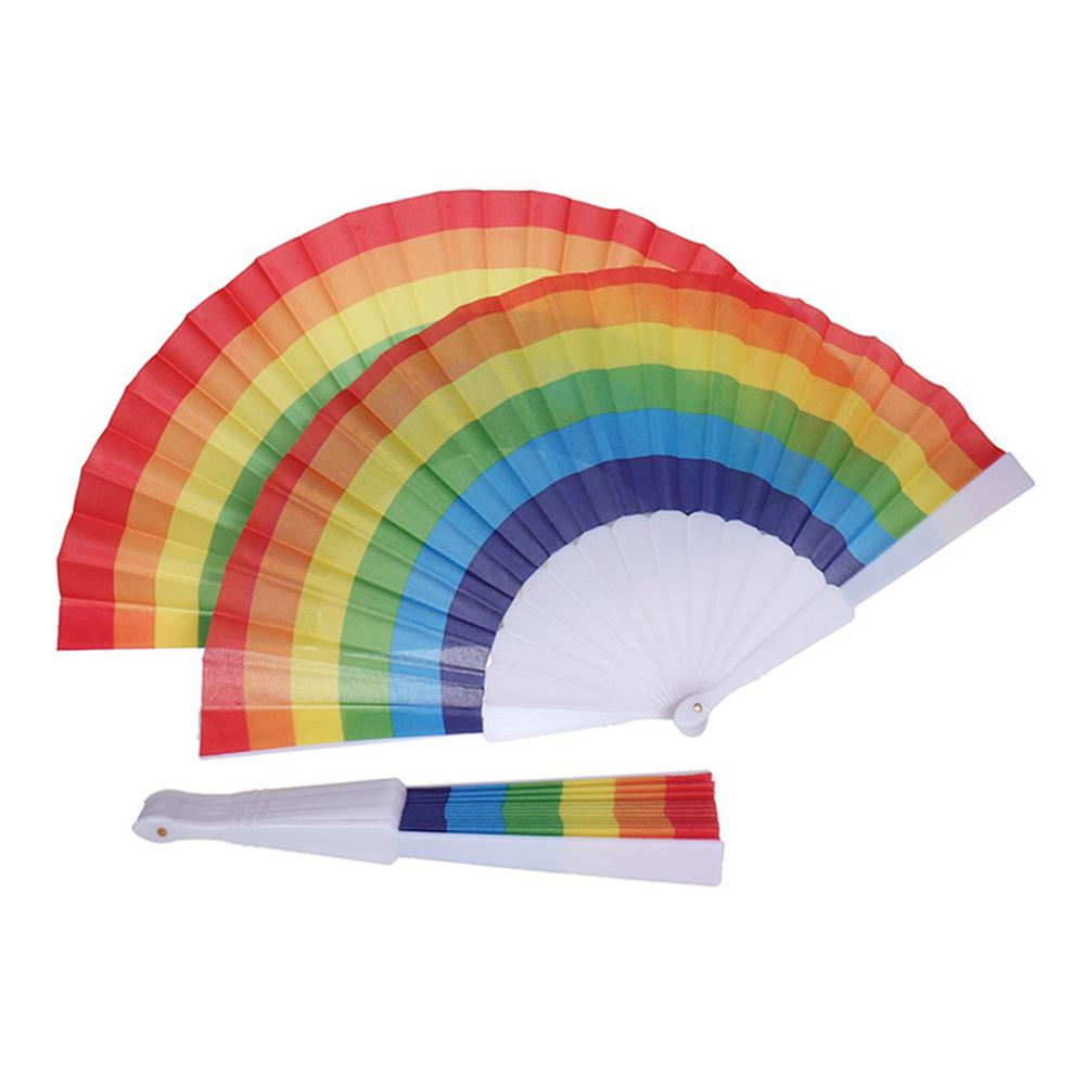 2PCS Chinese Traditional Hand Fan Hand Made Exquisite Folding Fan Rainbow Pattern Wedding Gift @A