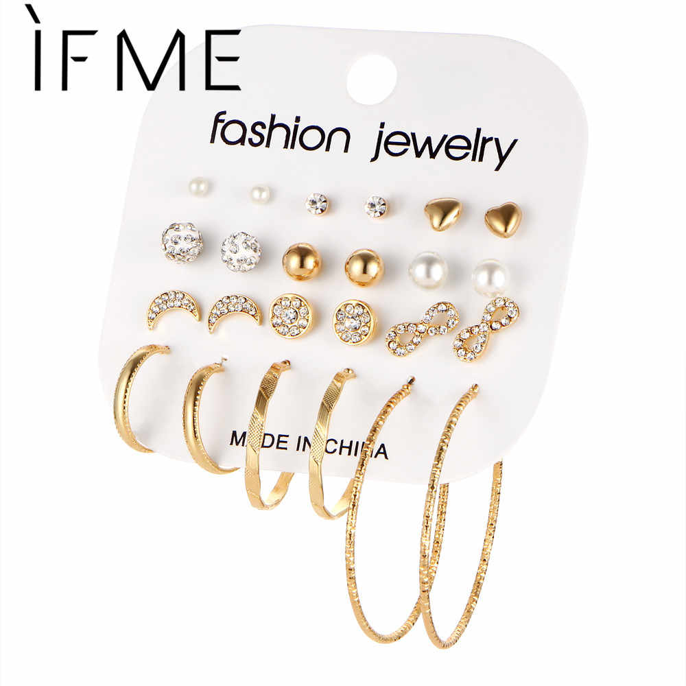 IF ME Fashion 12 Pairs/Set Brincos Mixed Stud Earrings For Women Crystal Ear Studs Moon Infinity  Imitation Pearl Jewelry Girl