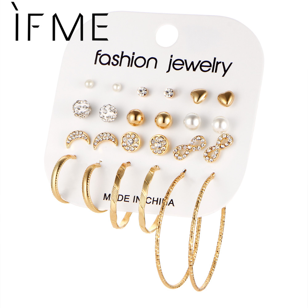 IF ME Fashion 12 Par / Set Brincos Mixed Stud Örhängen För Kvinnor Crystal Ear Studs Månen Infinity Imitation Pearl Jewelry Girl