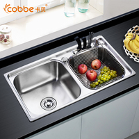 304 Stainless Steel Above Counter Kitchen Sinks Single Double Bowl Drawing Drainer Brushed Welding Sink For