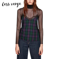 LESSVERGE Casual Sleeveless Top Women Sexy Lace Plaid Overalls Streetwear Summer Black One Piece Camis