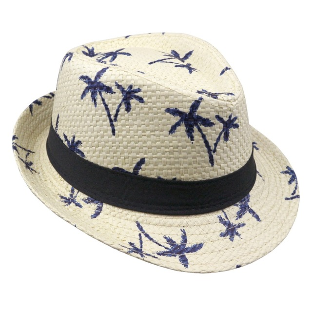 b590143a 2018 Hot Sale male women's and man hat sunbonnet straw hat Coconut tree  printed caps
