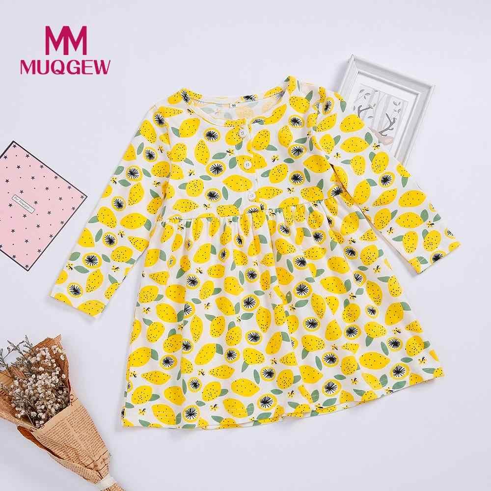 Детские вечерние платья принцессы на пуговицах с принтом лимона и фруктов для девочек; повседневная одежда; Детские платья для свадьбы; roupa infantil menina