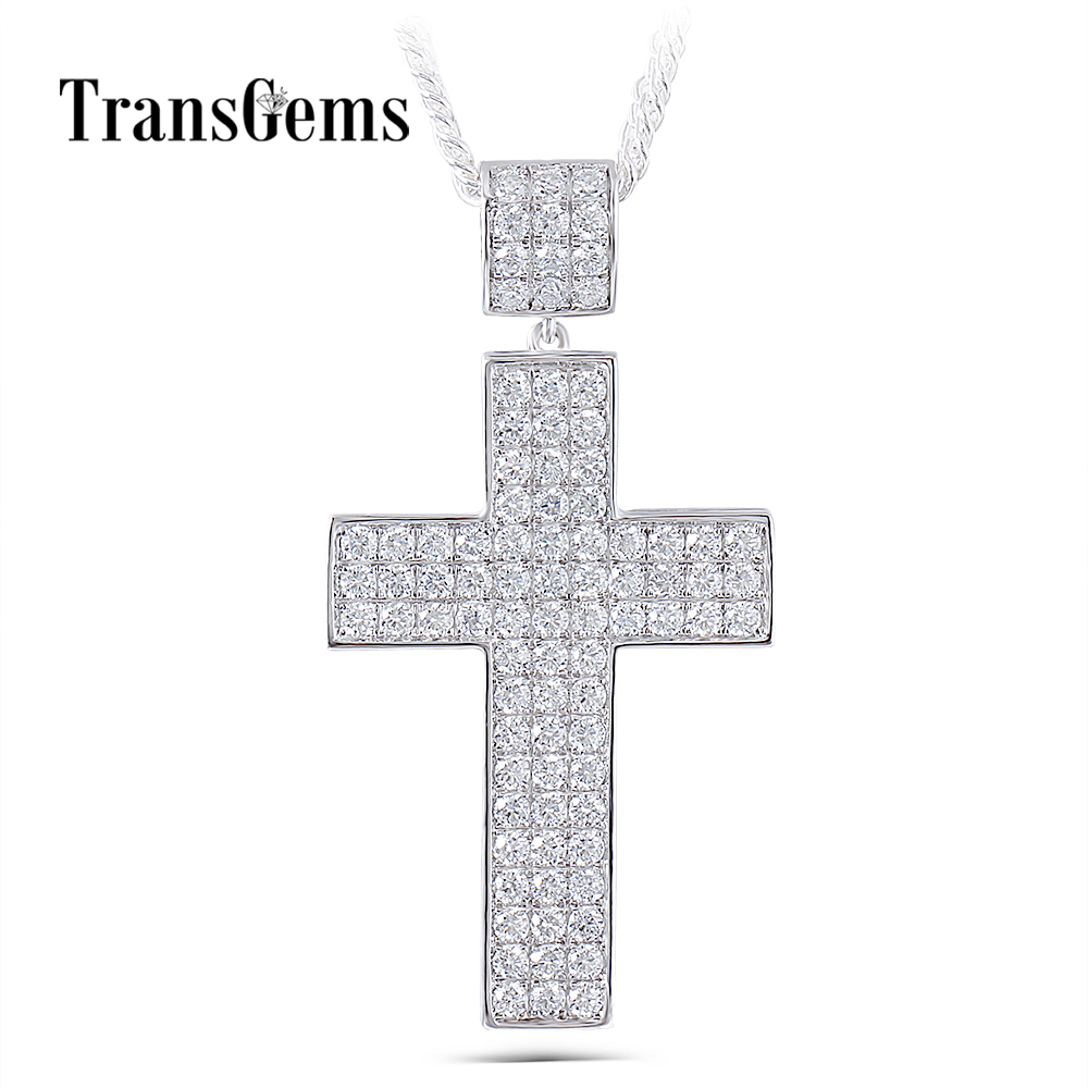 Transgems подвеска в форме Креста для мужчин платиновым покрытием серебро прозрачный Moissanite VVS1 2