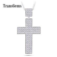 Transgems Cross Shaped Pendant for Men Platinum Plated Silver Clear Moissanite VVS1-2