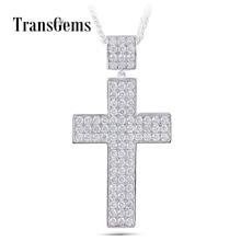 Transgems Cross Shaped Pendant for Men Silver Clear Moissanite VVS1 2
