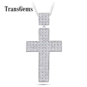Image 1 - Transgems Cross Shaped Pendant for Men Silver Clear Moissanite VVS1 2