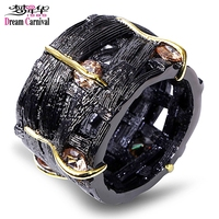 Dreamcarnival1989 Black Gold Color Statement Rings For Women Vintage Pierced See Through Fashion Champagne CZ Anillos