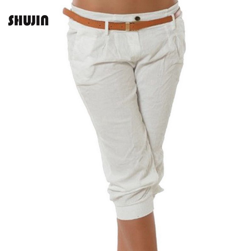 SHUJIN Women's Fashion Cotton Linen Short   Pants     Capris   Casual Loose Solid Elastic Waist Female Plus Size Sweatpants Trousers