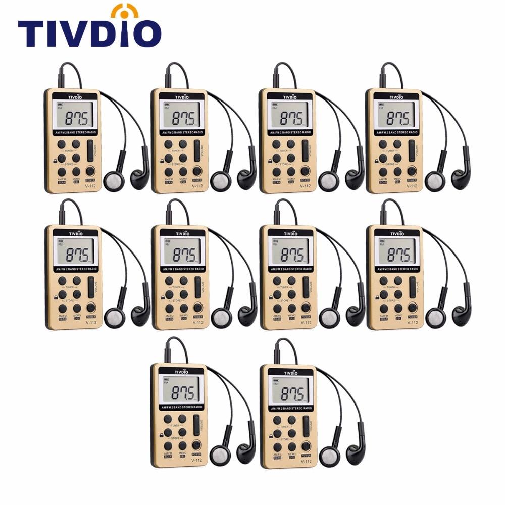 10шт TIVDIO в-112 мини карманный Радио ФМ-АМ цифровой тюнер Радио приемник с аккумулятором наушники F9202C