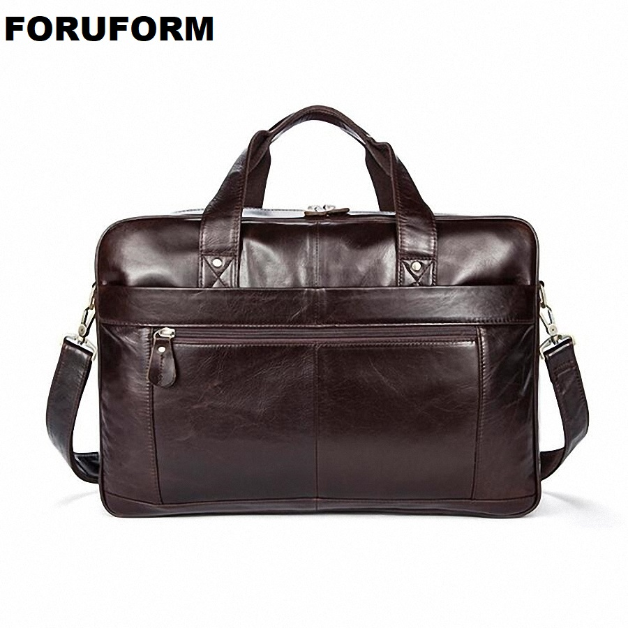 Mens Business Briefcase Vintage Handbag Genuine Leather Satchel Bag 14 Inch laptop Bag Shoulder Bag Gift For Men LI-2311