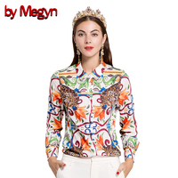 by Megyn 2019 Summer Women tops long sleeve women blouses runway fashion print casual plus size 3XL female office style skirt