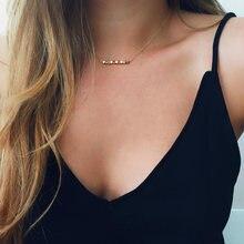 Collier ras du cou en or pour femmes, chaîne longue et Simple, pendentif en petits Cubes, avec perles