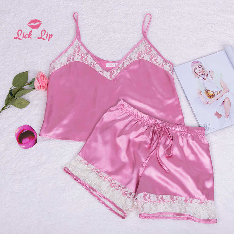 1c5695eabfc ... Lick Lip Pink Sexy Stitch Pyjama Mujer Femme Women Lace Patchwork Sleepwear  Ladies Satin Shorts Pajama ...