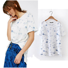 withered The universe of stars printing t-shirt women 2017 summer o-neck cotton After short before long loose women tops tees