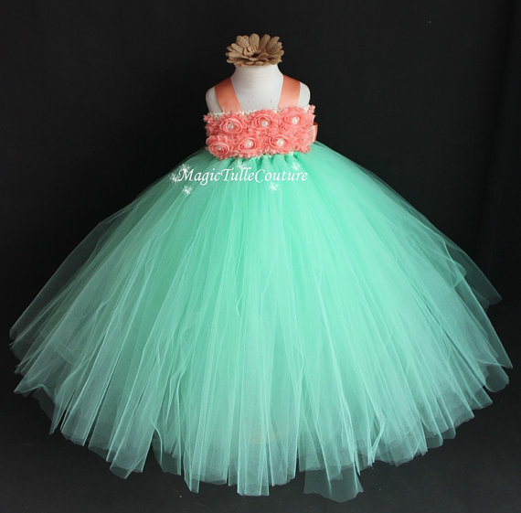 8c592960ba01 Mint and Coral Flower Girl Tutu Dress Princess Tulle Dress Birthday Wedding  Party Toddler Dress1 2t 3t 4t 5t 6t 7t 8t 9t10t-in Dresses from Mother &  Kids on ...