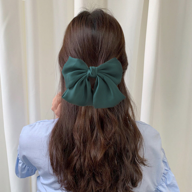 New Solid Color Chiffon Ribbon Big Large Barrette Bow Hairpin For Women Girls Satin Trendy Hair Clips Fashion Hair Accessories in Women 39 s Hair Accessories from Apparel Accessories