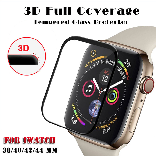 huge selection of 8a609 1ffda US $1.41 40% OFF 3D Curved Full Cover Tempered Glass For Apple Watch Band  Series 4 40mm 44mm Screen Protector For iWatch 4/3/2/1 42mm 38mm-in Phone  ...