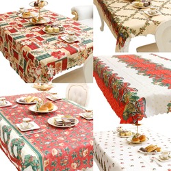 New Rectangle Cartoon Patterns Christmas Tablecloth Cover Scalloped Edge 150x180cm As Christmas Decoration Gift