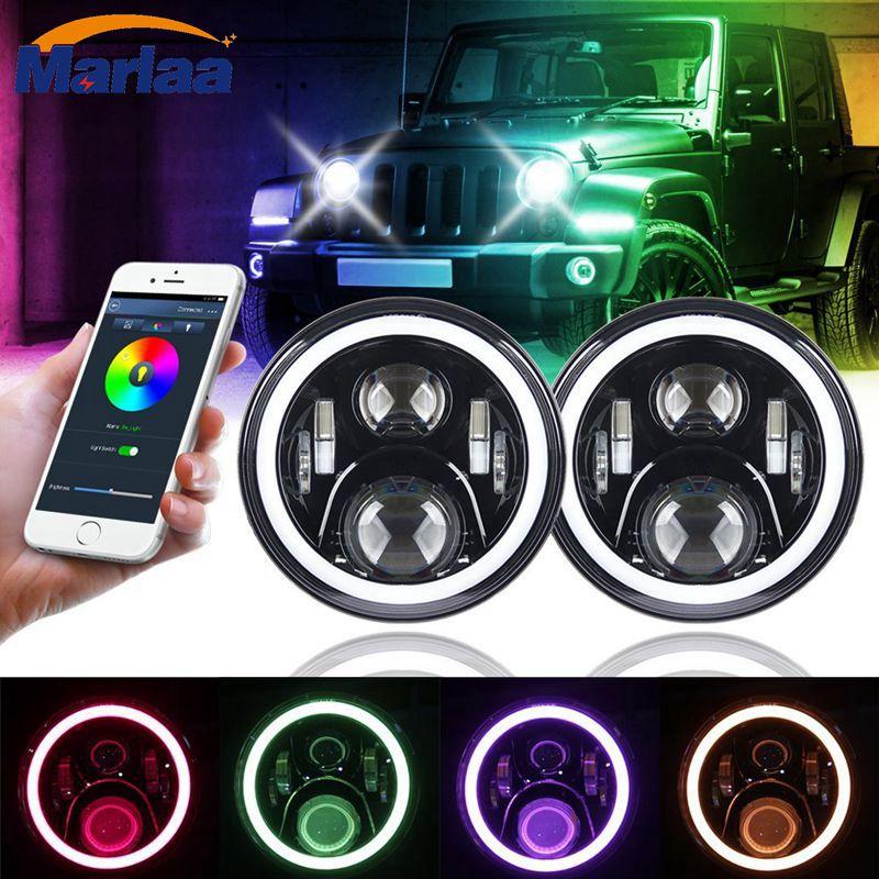 В RGB гало 7 дюймов светодиодные фары на 1997 год в 2017 джип светодиодных фар с RGB глаза Ангела для Jeep JK в СИДЖЕЙ ЖЖ