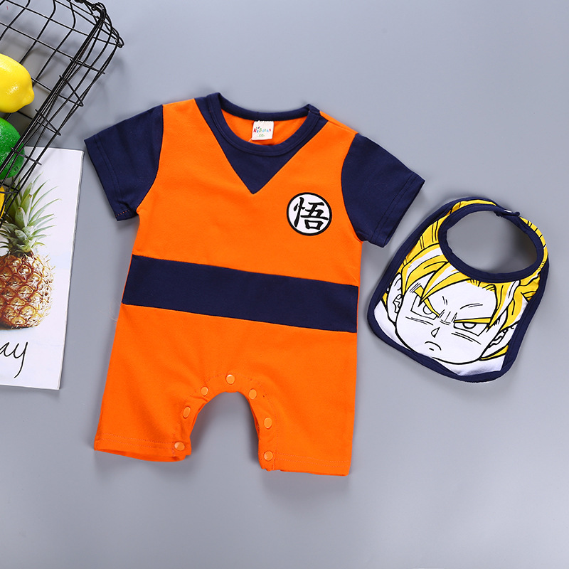 Baby Boy Romper With Bibs Newborn Baby Clothes SON GOKU Toddler Jumpsuit Bebes Costumes Cotton Dragon Ball For Boy Girl Clothing