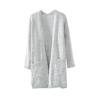 Autumn Winter Fashion Women Long Sleeve Loose Sweater Knitted Cardigan Silver S